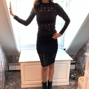 W T D black cut out 2 piece skirt set